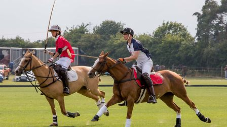 The Duke of Cambridge going for goal at The Norfolk Polo Club Charity Cup. Picture: Lee Blanchflower