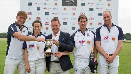 The Duke of Cambridge during the prize giving presentation after the match. Picture: Lee Blanchflowe
