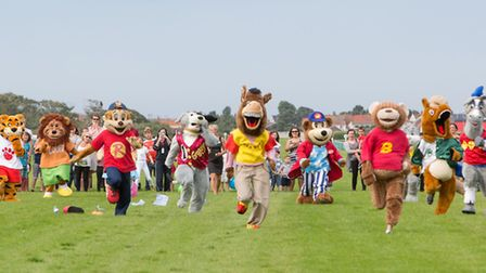A previous mascot race at Great Yarmouth Racecourse Picture: Lee Blanchflower, Blanc Creative