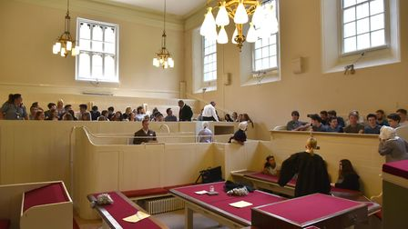 The mock murder trial of John Stratton at the courtrooms in Norwich Castle Museum.