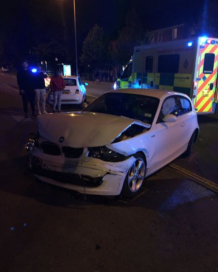 One of three vehicles involved in a crash in Aylsham. Picture: Norfolk Constabulary