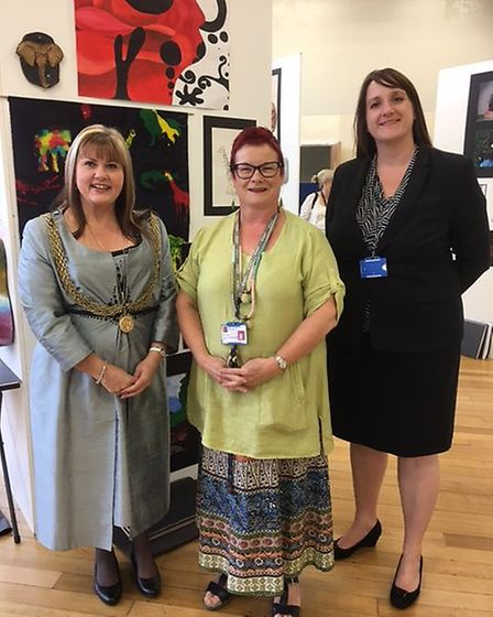 Great Yarmouth mayor Kerry Robinson-Payne at the opening of Great Yarmouth High School's art show. P