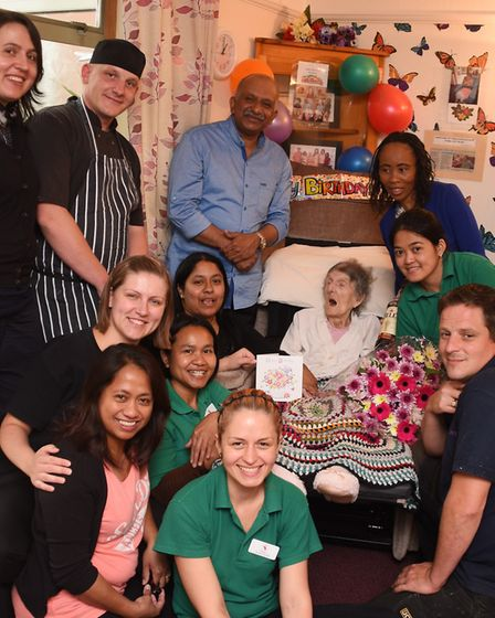 Kathleen Atthill celebrating her 104th birthday with the staff at the St Clements Nursing Home. Pict
