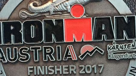 The medal awarded for completing the Ironman Challenge. Photo: Jo Chilvers