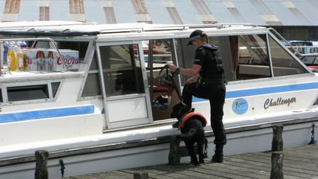 PC Frances Peters and police dog Sheldon conduct a search of a hire boat. Picture: Andrew Stone
