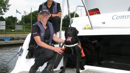PC Amy Barrell and PC Frances Peters with police dog Sheldon. Picture: Andrew Stone