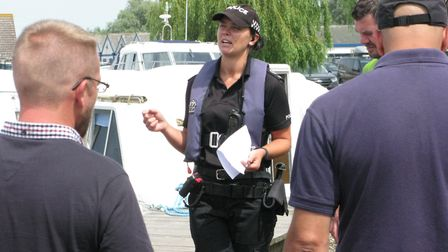 PC Amy Barrell chats to a group during a meet and greet. Picture: Andrew Stone