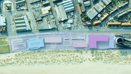 Proposed layout in context. From L to R: Multi-storey car park, casino, hotel, cinema, restaurants a