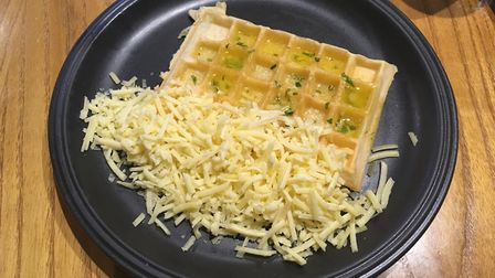 The garlic butter waffle with grated cheese, for starters, at The Waffle House, Norwich. Picture: St