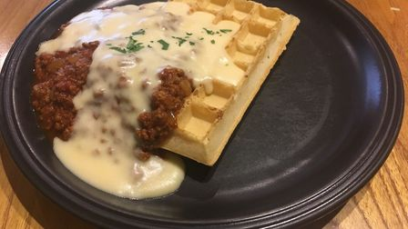 The Bolognaise waffle at The Waffle House, Norwich. Picture: Stuart Anderson