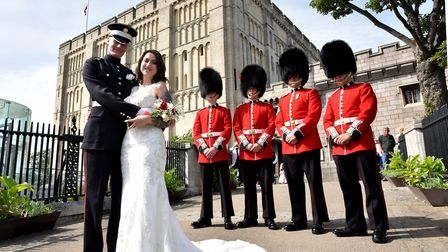 Guardsman Gavin Herrick marries Romany Herrick at The Castle Museum. Gavin is a Coldstream Guard and