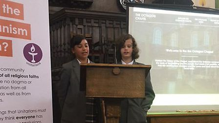 Students from Jane Austen College launch the new website they designed for the Octagon Chapel. Pictu