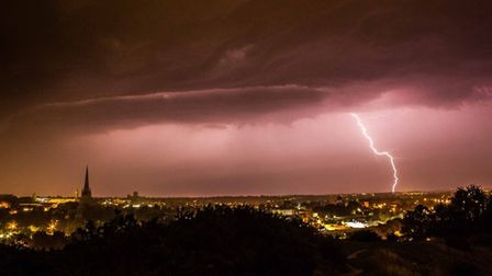 Lightning over Norwich. Picture: Dan Holly