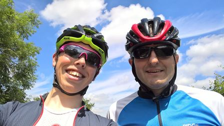 A sixth former has cycled over 300 miles in memory of his father, who tragically died of meningitis