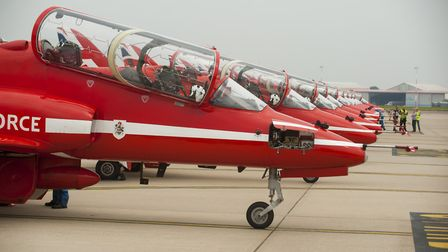 The Royal Air Force Red Arrows arrive at Norwich airport in 2016. PHOTO: Nick Butcher