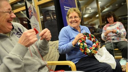 Visitors to Norwich's Millennium Library enjoying a knit and natter event as part of Norfolk County