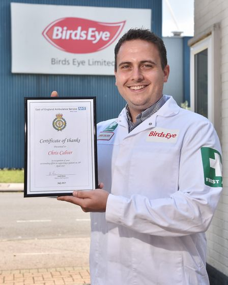 Birds Eye first aider Chris Calver was praised by the East of England Ambulance Service for his role