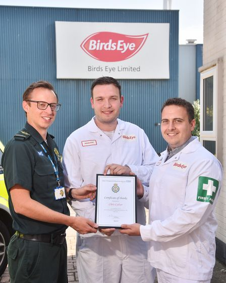 Birds Eye worker Aaron Kent is reunited with paramedic Chris Calver from the East of England Ambulan