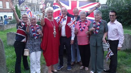 Town Reeve Mary Sprake with her husband, Tony, and some of those in proms costume. Picture: Terry Re