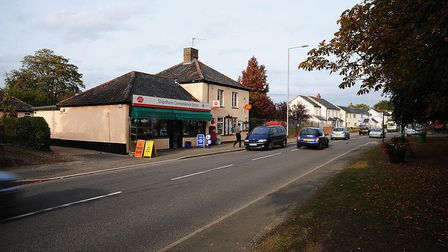 The main road through Shipdham facing severe traffic congestion if new homes were to be built. Pictu