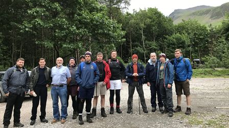 Mark and Dan Gay with friends and family on the three peaks challenge. Picture: Mark Gay