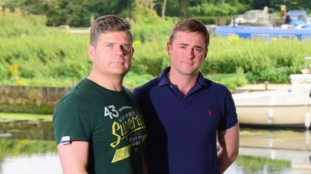 Over looking Thorpe Island from their gardens, left, Christopher Cooper and Jeremy Clarke. Picture b