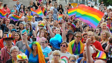 The annual Norwich Pride parade celebrating diversity from Millennium Plain to Chapelfield Gardens