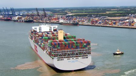 The worlds largest container ship the OCCL Hong Kong arrives at Felixstowe port in SuffolkPicture P