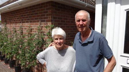 Annie and Aubrey Kerridge, from Beatty Road, Norwich, waited with their neighbour Peter Lunniss, for