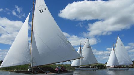 Action from the Yare Sailing Club's Cantley Regatta with Anna, Brigand and Pippinjack. Picture: Marg