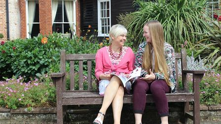 Former Hethersett Old Hall School student Catherine Lovick, right, with the school's textiles teach
