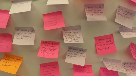 Residents left notes voicing their views on what improvements should be made to Attleborough Recreat