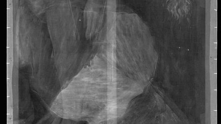 Upside-down x-ray of Magritte's La Condition Humaine, clearly showing, on the left, the legs and han
