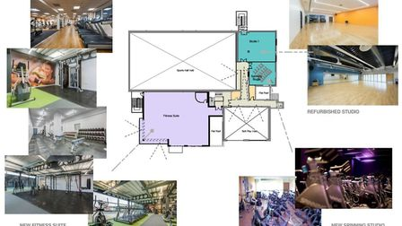Plans for the first floor of Long Stratton Leisure Centre. Picture: South Norfolk Council/Alliance L