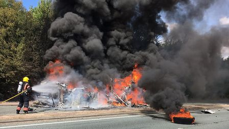 Double-decker bus destroyed in blaze on the A11 near Cambridge. Picture Cambs Fire and Rescue