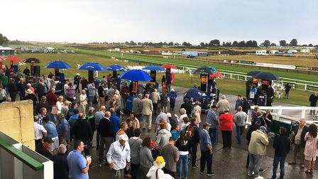 Thunderstorms over Yarmouth racecourse caused delays in the racing.Picture: Nick Butcher