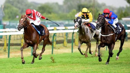 Alemaratalyoum wins the fourth race at Yarmouth. Picture: Nick Butcher