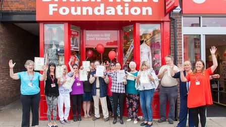 Staff at voluteers celebrate the 25th anniversary of the BHF shop in Great Yarmouth. Picturell Brit