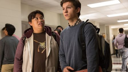 Jacob Batalon as Ned and Tom Holland as Peter Parker in Spider-Man: Homecoming. Picture: CTMG/Chuck