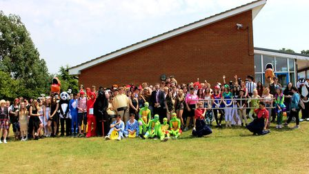 Students enjoying Attleborough Academy's Year 11 leavers' day. Also pictured is principal Neil McSha