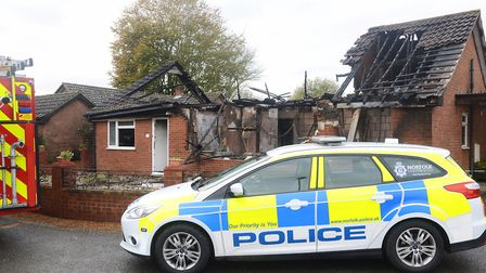 The scene after the fire in Scotgate Close, Great Holkham. Picture: Ian Burt