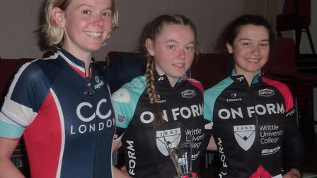 The women's podium at the VC Norwich Road Races, from left, Elizabeth Hughes, Emily Ashwood and Elen