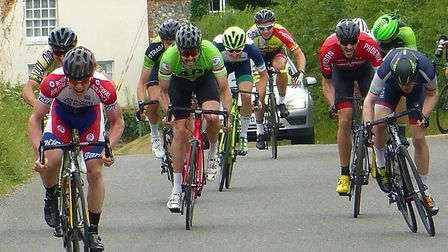 The men's sprint at the VC Norwich Road Race – eventual winner Lee, left, and Norwich rider Mike Aug