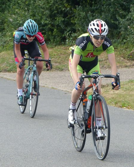 Horsford rider Sophie Wright wins the mid-race prime from Jessica Woodworth at the VC Norwich Women'