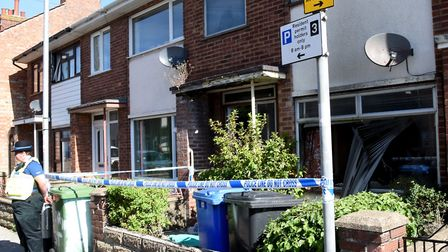 Scene of the house fire in Stanley Street, Lowestoft. Picture: Nick Butcher