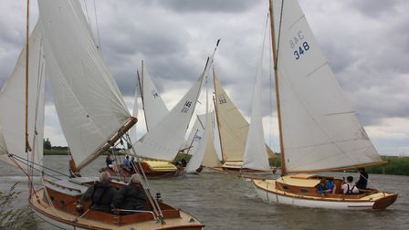 Clsoe racing in the EACC River Cruiser Class Open at Thurne Mouth. Picture: Sue Hines