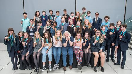 Some YSA medal winners, with Maddie Moate and Marty Jopson and co-founders Samantha and Simon Fox. P