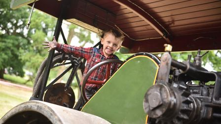 Sotterley Country Fair. Tony Verikas, 4, on a 1927 Aveling steam roller. Picture : ANTONY KELLY