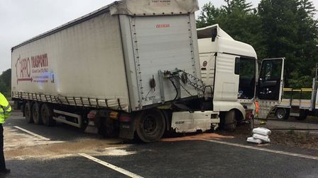 The HGV involved in a crash on the A11 at Attleborough. Picture submitted.