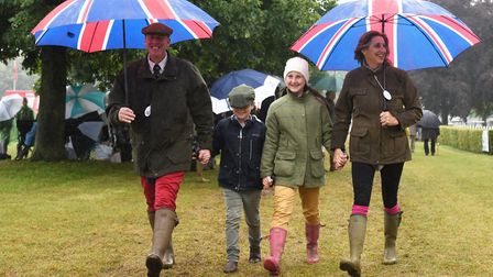 Jeremy and Sarah Wales with children Suki and Barnaby at the Royal Norfolk Show 2017.